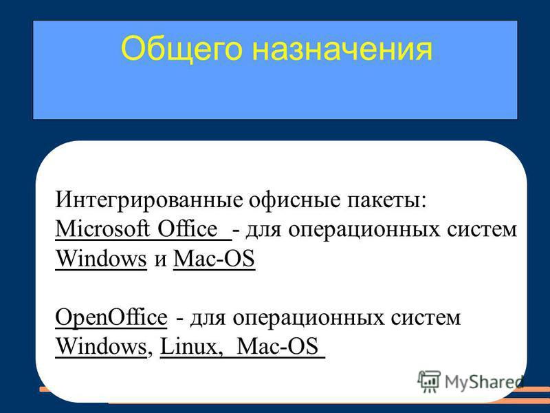 Интегрированные офисные пакеты: Microsoft Office - для операционных систем Windows и Mас-ОS OpenOffice - для операционных систем Windows, Linux, Mac-ОS Общего назначения