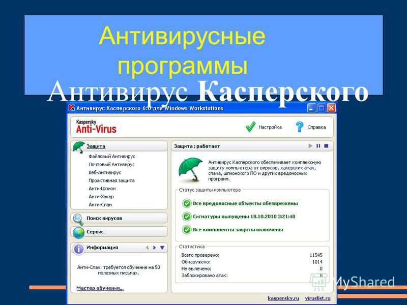 Антивирусные программы Антивирус Касперского