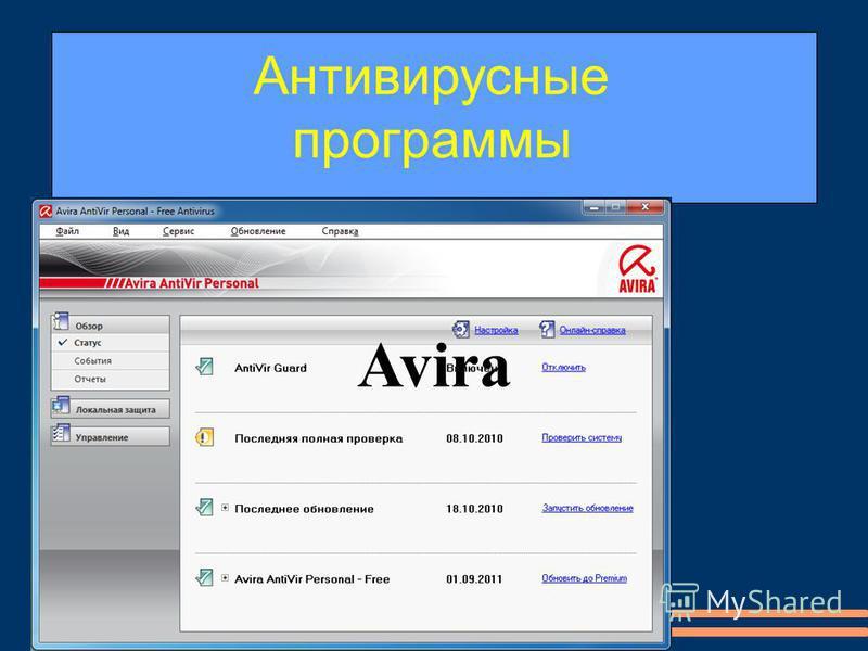 и др. Dr-Web,NOD-32, Panda,Avira Антивирусные программы