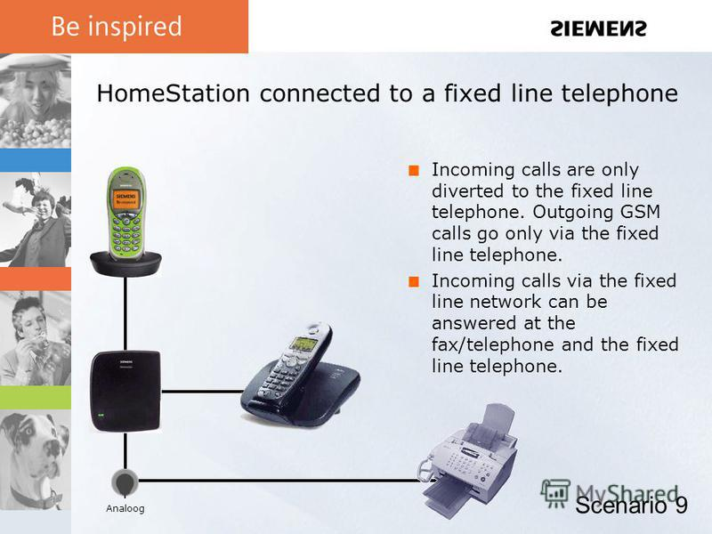 HomeStation connected to a fixed line telephone Incoming calls are only diverted to the fixed line telephone. Outgoing GSM calls go only via the fixed line telephone. Incoming calls via the fixed line network can be answered at the fax/telephone and