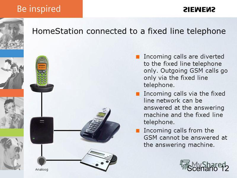 HomeStation connected to a fixed line telephone Incoming calls are diverted to the fixed line telephone only. Outgoing GSM calls go only via the fixed line telephone. Incoming calls via the fixed line network can be answered at the answering machine