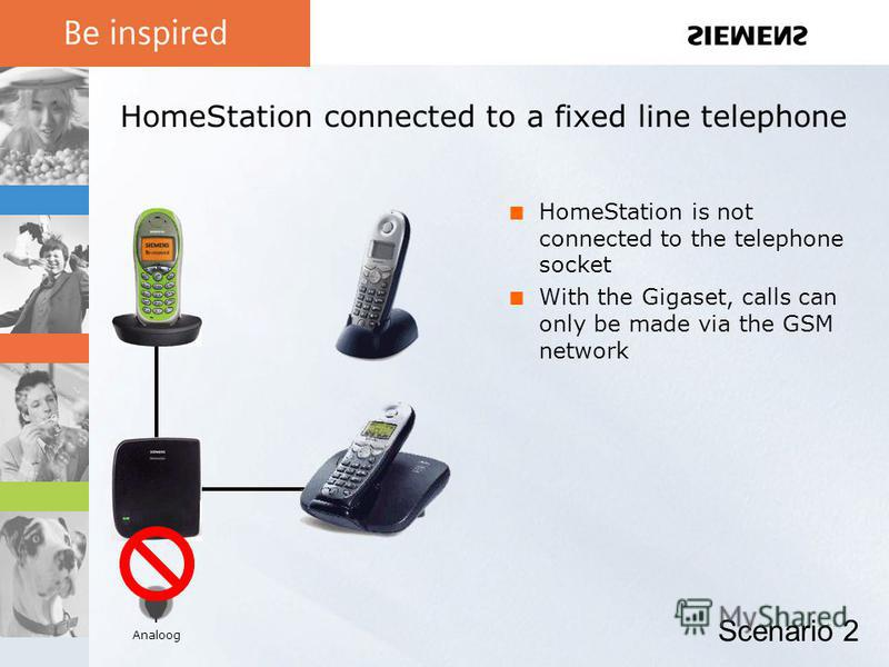 HomeStation connected to a fixed line telephone HomeStation is not connected to the telephone socket With the Gigaset, calls can only be made via the GSM network Scenario 2 Analoog