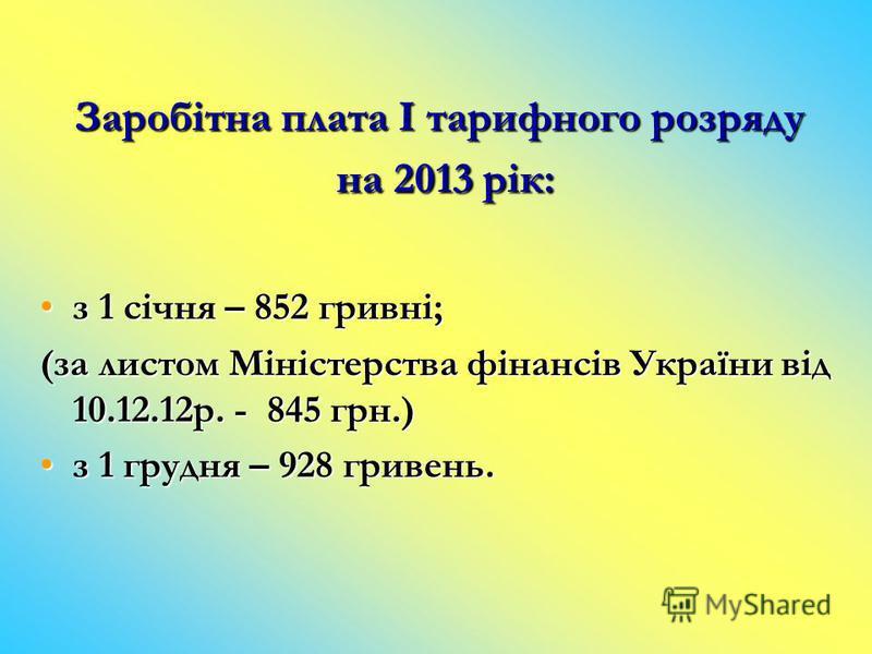 Заробітна плата І тарифного розряду на 2013 рік: з 1 січня – 852 гривні;з 1 січня – 852 гривні; (за листом Міністерства фінансів України від 10.12.12р. - 845 грн.) з 1 грудня – 928 гривень.з 1 грудня – 928 гривень.