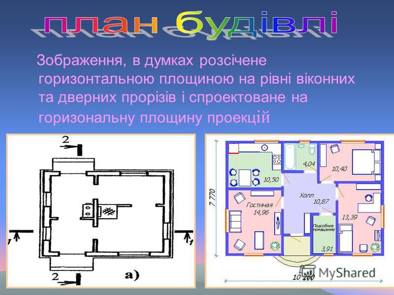 Зображення, в думках розсiчене горизонтальною площиною на рiвнi вiконних та дверних прoрiзiв i спроектоване на горизональну площину проекц ій