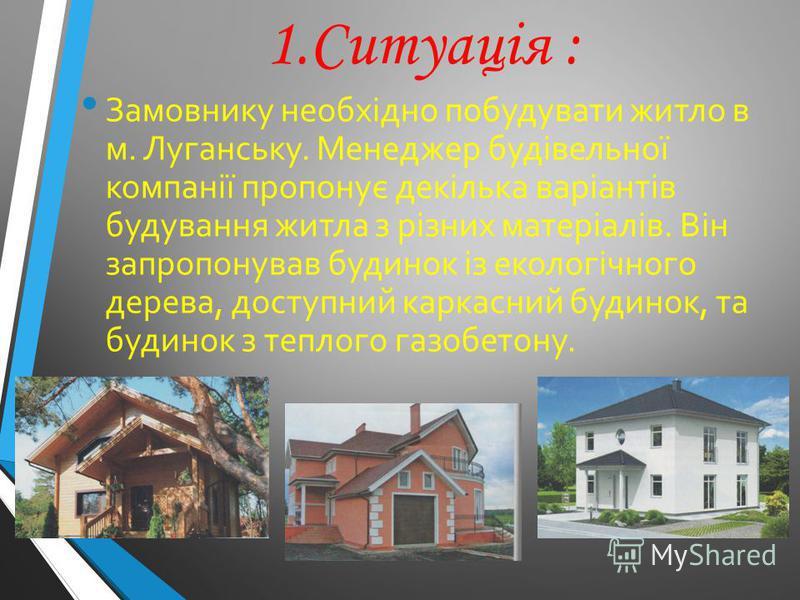 1.Ситуація : Замовнику необхідно побудувати житло в м. Луганську. Менеджер будівельної компанії пропонує декілька варіантів будування житла з різних матеріалів. Він запропонував будинок із екологічного дерева, доступний каркасний будинок, та будинок