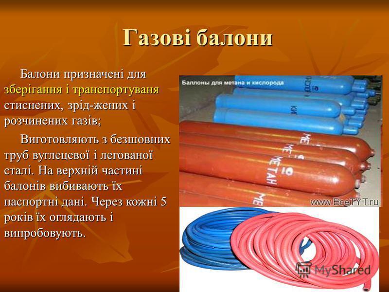 Газові балони Газові балони Балони призначені для зберігання і транспортуваня стиснених, зрід-жених і розчинених газів; Балони призначені для зберігання і транспортуваня стиснених, зрід-жених і розчинених газів; Виготовляють з безшовних труб вуглецев
