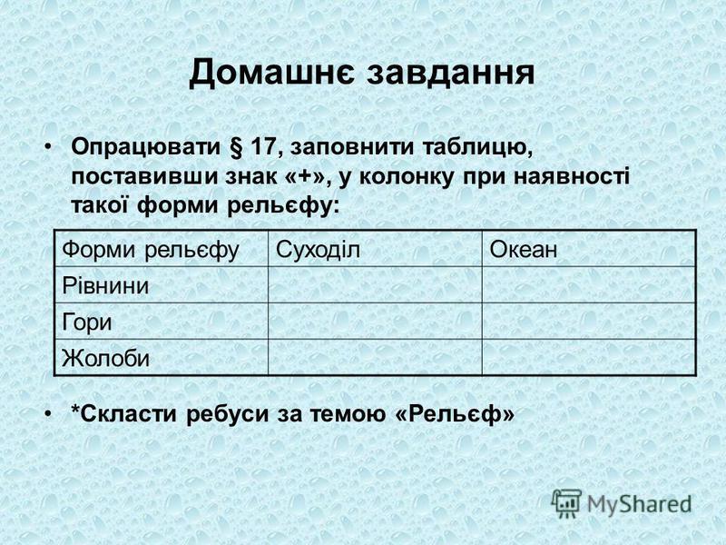 Домашнє завдання Опрацювати § 17, заповнити таблицю, поставивши знак «+», у колонку при наявності такої форми рельєфу: *Скласти ребуси за темою «Рельєф» Форми рельєфуСуходілОкеан Рівнини Гори Жолоби