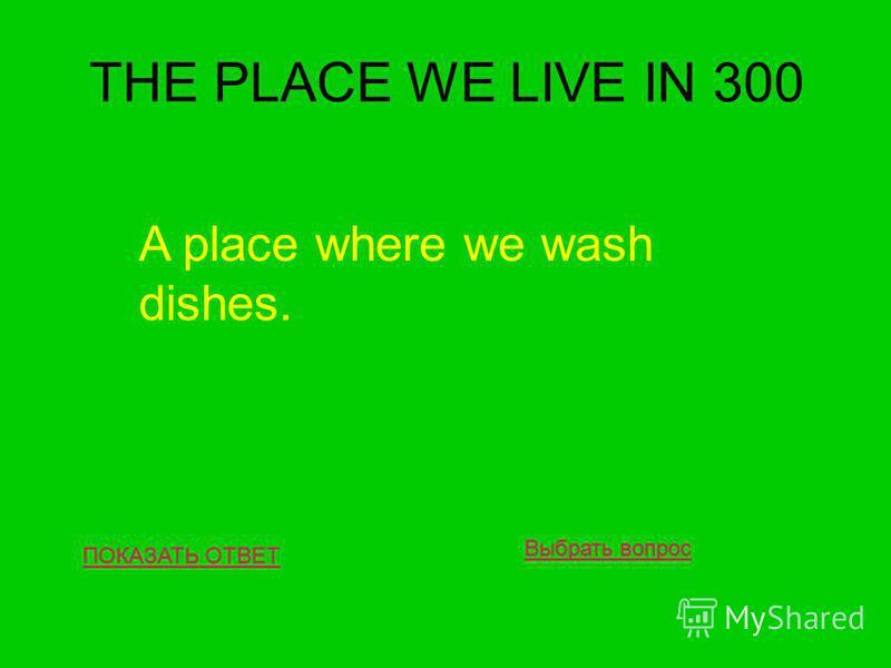 THE PLACE WE LIVE IN 300 ПОКАЗАТЬ ОТВЕТ A place where we wash dishes. Выбрать вопрос