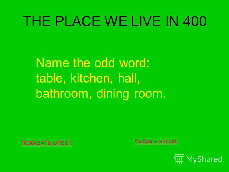 THE PLACE WE LIVE IN 400 ПОКАЗАТЬ ОТВЕТ Name the odd word: table, kitchen, hall, bathroom, dining room. Выбрать вопрос