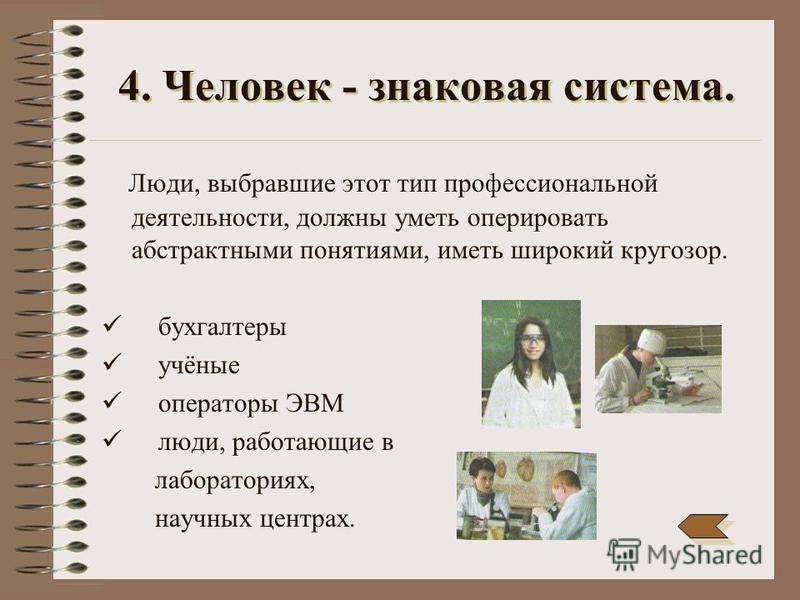 3. Человек-человек. Тут для специалиста предметом труда является другой человек, а характерной чертой деятельности - необходимость воздействия на других людей. учитель врач журналист продавец