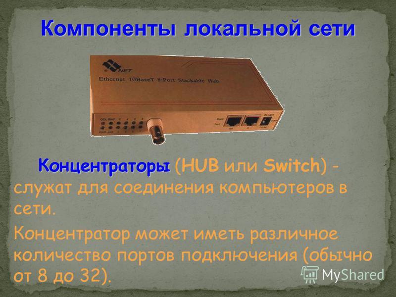 Компоненты локальной сети Концентраторы Концентраторы (HUB или Switch) - служат для соединения компьютеров в сети. Концентратор может иметь различное количество портов подключения (обычно от 8 до 32).