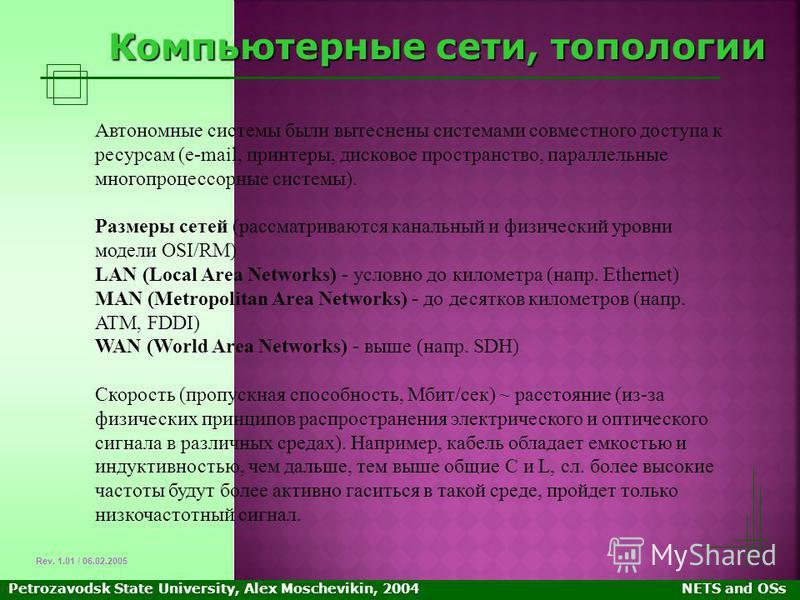 Petrozavodsk State University, Alex Moschevikin, 2004NETS and OSs Компьютерные сети, топологии Автономные системы были вытеснены системами совместного доступа к ресурсам (e-mail, принтеры, дисковое пространство, параллельные многопроцессорные системы