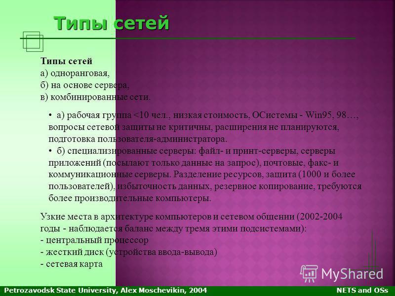 Petrozavodsk State University, Alex Moschevikin, 2004NETS and OSs Типы сетей а) одноранговая, б) на основе сервера, в) комбинированные сети. а) рабочая группа <10 чел., низкая стоимость, ОСистемы - Win95, 98…, вопросы сетевой защиты не критичны, расш