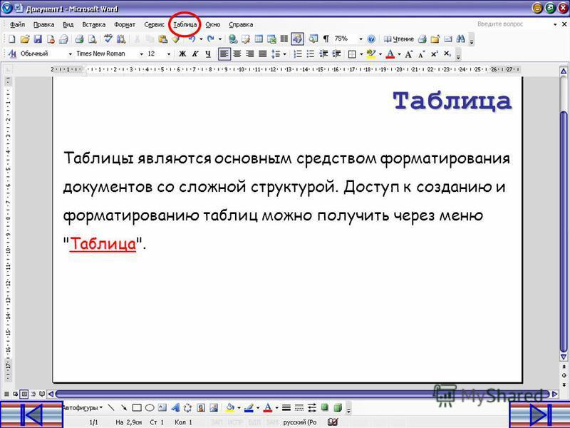 MS WORD.Работа с таблицами