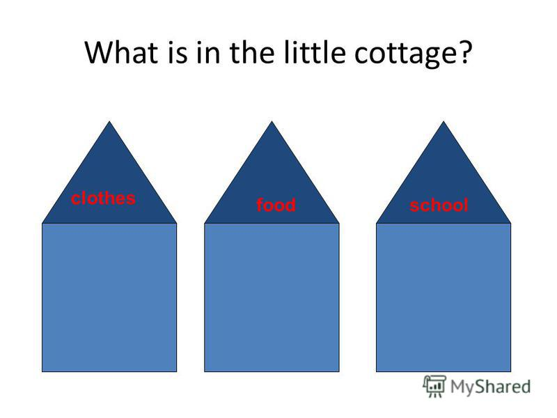 What is in the little cottage? clothes schoolfood