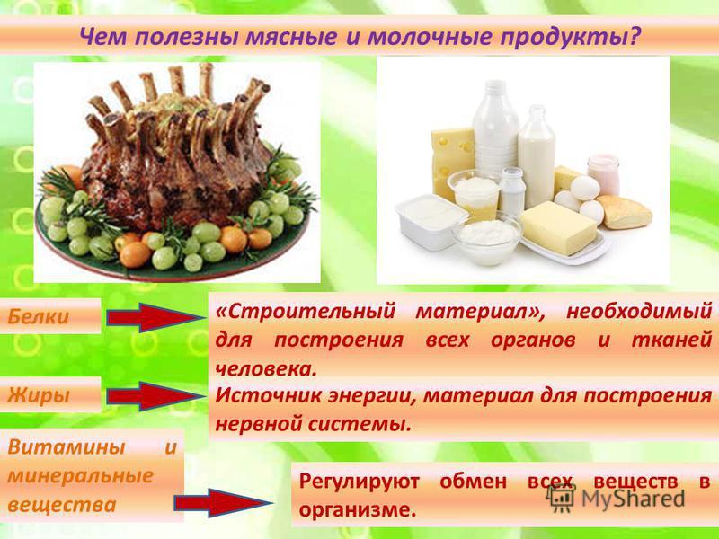 Чем полезны мясные и молочные продукты? Белки «Строительный материал», необходимый для построения всех органов и тканей человека. Жиры Источник энергии, материал для построения нервной системы. Витамины и минеральные вещества Регулируют обмен всех ве