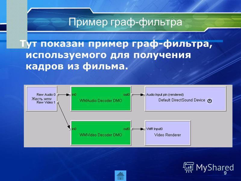 9 Пример граф-фильтра Тут показан пример граф-фильтра, используемого для получения кадров из фильма.