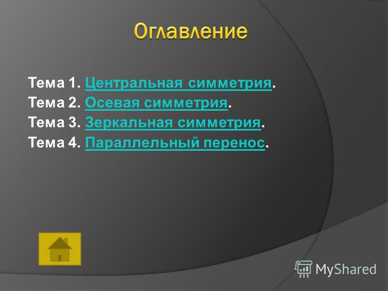 Тема 1. Центральная симметрия.Центральная симметрия Тема 2. Осевая симметрия.Осевая симметрия Тема 3. Зеркальная симметрия.Зеркальная симметрия Тема 4. Параллельный перенос.Параллельный перенос