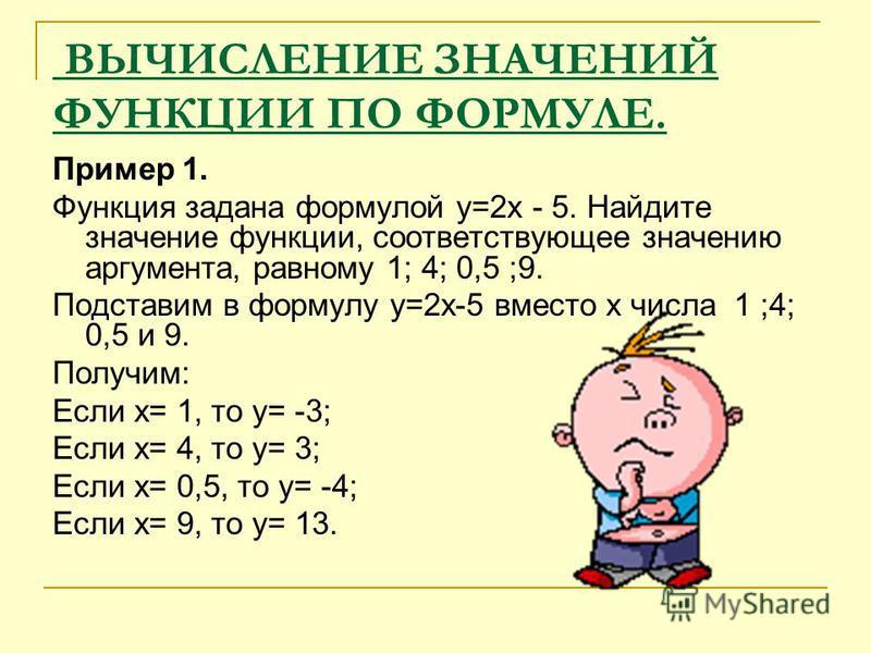 ВЫЧИСЛЕНИЕ ЗНАЧЕНИЙ ФУНКЦИИ ПО ФОРМУЛЕ. Пример 1. Функция задана формулой y=2x - 5. Найдите значение функции, соответствующее значению аргумента, равному 1; 4; 0,5 ;9. Подставим в формулу y=2x-5 вместо х числа 1 ;4; 0,5 и 9. Получим: Если х= 1, то у=