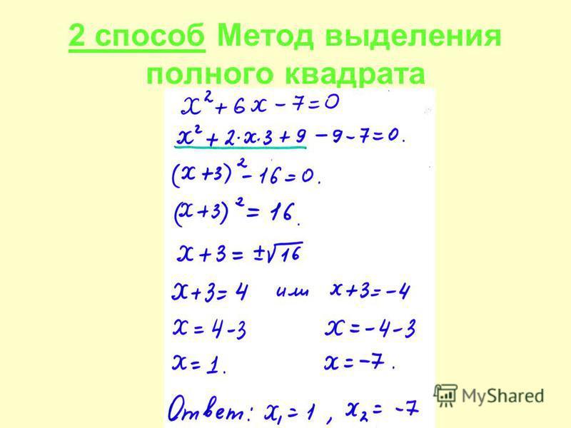 2 способ Метод выделения полного квадрата