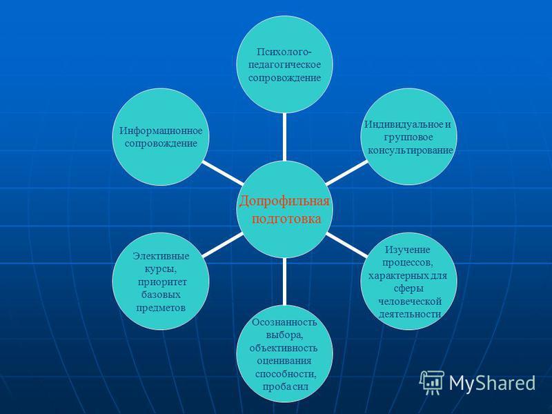 Допрофильная подготовка Психолого- педагогическое сопровождение Индивидуальное и групповое консультирование Изучение процессов, характерных для сферы человеческой деятельности Осознанность выбора, объективность оценивания способности, проба сил Элект