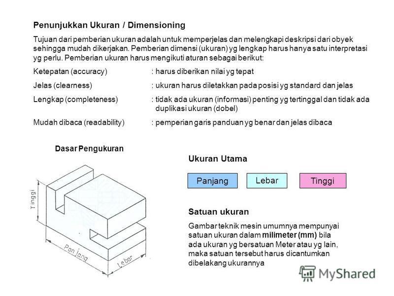 Penunjukkan Ukuran / Dimensioning Tujuan dari pemberian ukuran adalah untuk memperjelas dan melengkapi deskripsi dari obyek sehingga mudah dikerjakan. Pemberian dimensi (ukuran) yg lengkap harus hanya satu interpretasi yg perlu. Pemberian ukuran haru