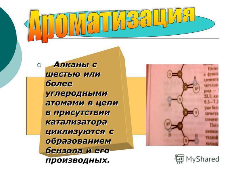Алканы с шестью или более углеродными атомами в цепи в присутствии катализатора циклизуются с образованием бензола и его производных. Алканы с шестью или более углеродными атомами в цепи в присутствии катализатора циклизуются с образованием бензола и