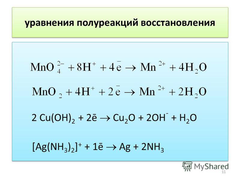 уравнения полуреакций восстановления 2 Cu(OH) 2 + 2ē Cu 2 O + 2OH ¯ + H 2 O [Ag(NH 3 ) 2 ] + + 1ē Ag + 2NH 3 2 Cu(OH) 2 + 2ē Cu 2 O + 2OH ¯ + H 2 O [Ag(NH 3 ) 2 ] + + 1ē Ag + 2NH 3 11