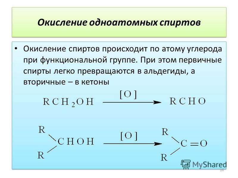 Окисление одноатомных спиртов Окисление спиртов происходит по атому углерода при функциональной группе. При этом первичные спирты легко превращаются в альдегиды, а вторичные – в кетоны 16