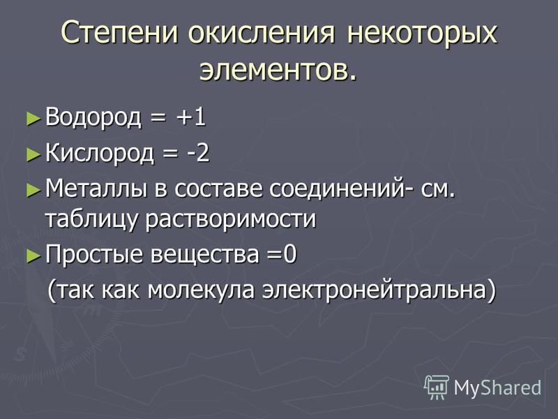 Степени окисления некоторых элементов. Водород = +1 Водород = +1 Кислород = -2 Кислород = -2 Металлы в составе соединений- см. таблицу растворимости Металлы в составе соединений- см. таблицу растворимости Простые вещества =0 Простые вещества =0 (так