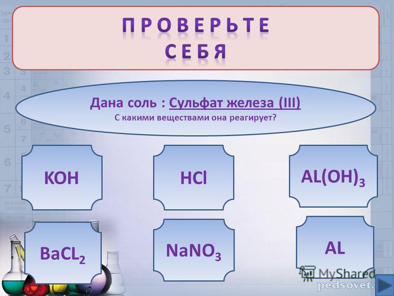 Дана соль : Сульфат железа (III) С какими веществами она реагирует? KOH AL(OH) 3 BaCL 2 AL NaNO 3 HCl