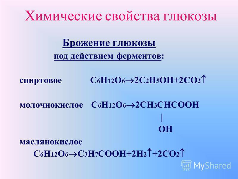 Химические свойства глюкозы Свойства альдегидов: a) окисление аммиачным раствором оксида серебра при нагревании (реакция серебряного зеркала) b) присоединение водорода (реакция восстановления)