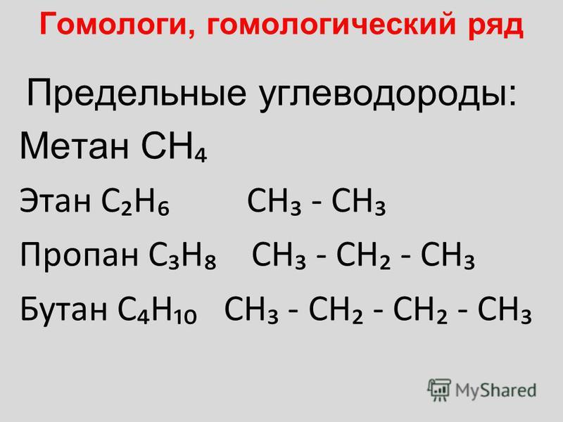 Гомологи, гомологический ряд Предельные углеводороды: Метан CH Этан CH CH - CH Пропан CH CH - CH - CH Бутан CH CH - CH - CH - CH