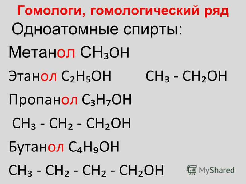 Гомологи, гомологический ряд Одноатомные спирты: Метанол CH OH Этанол CHOH CH - CHOH Пропанол CHOH CH - CH - CHOH Бутанол CHOH CH - CH - CH - CHOH