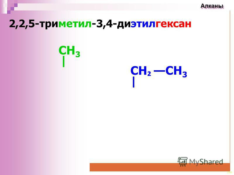 CEE Алканы Алканы 2,2,5-триметил-3,4-диэтилгексан CH 3 CН