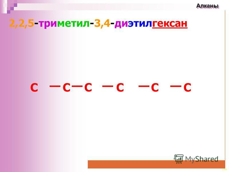 CEE Алканы Алканы 2,2,5-триметил-3,4-диэтилгексан CC C CCC