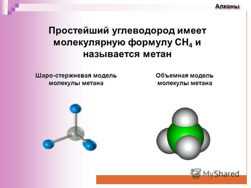 CEE Алканы Алканы Простейший углеводород имеет молекулярную формулу СН 4 и называется метан Объемная модель молекулы метана Шаро-стержневая модель молекулы метана
