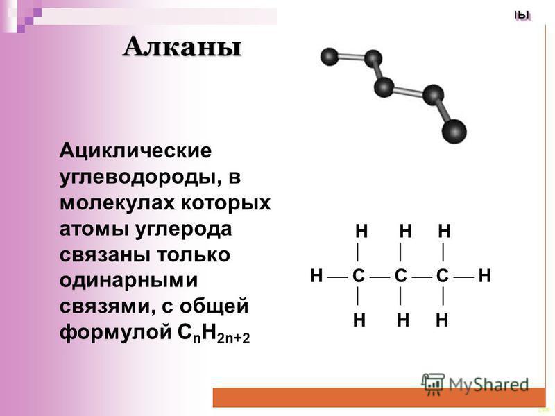 CEE Алканы Алканы Алканы Ациклические углеводороды, в молекулах которых атомы углерода связаны только одинарными связями, с общей формулой C n H 2n+2 Н Н Н Н С С С Н Н Н Н