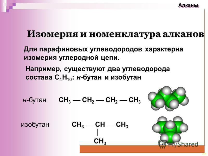 CEE Алканы Алканы Изомерия и номенклатура алканов Изомерия и номенклатура алканов Для парафиновых углеводородов характерна изомерия углеродной цепи. СН 3 СН СН 3 СН 3 Например, существуют два углеводорода состава С 4 Н 10 : н-бутан и изобутан СН 3 СН