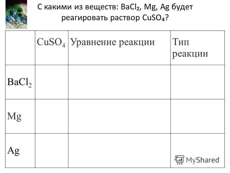 CuSO 4 Уравнение реакции Тип реакции BaCl 2 Mg Ag С какими из веществ: BaCl, Mg, Ag будет реагировать раствор CuSO?