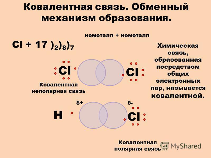 неметалл + неметалл Cl + 17 ) 2 ) 8 ) 7 СlСlСlСl Ковалентная связь. Обменный механизм образования. СlСl Н Химическая связь, образованная посредством общих электронных пар, называется ковалентной. δ+δ+δ-δ- Ковалентная полярная связь Ковалентная неполя