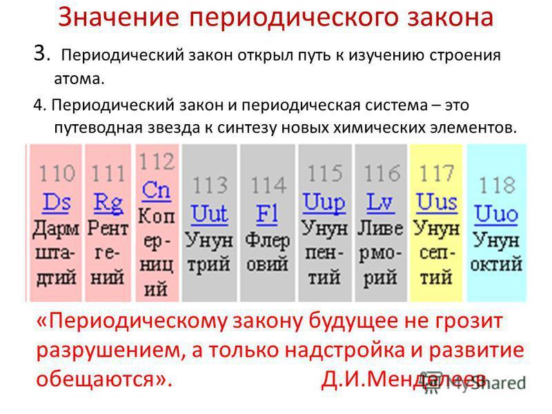 Значение периодического закона 3. Периодический закон открыл путь к изучению строения атома. 4. Периодический закон и периодическая система – это путеводная звезда к синтезу новых химических элементов. «Периодическому закону будущее не грозит разруше