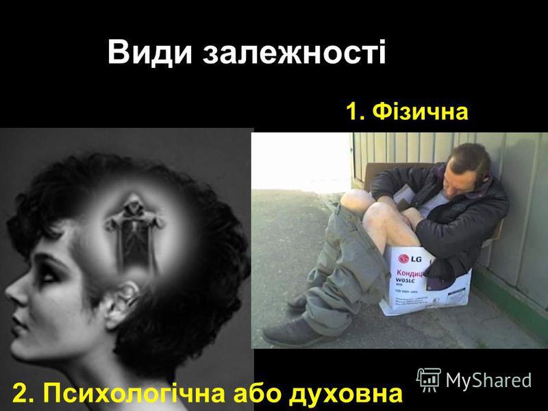 Види залежності 1. Фізична 2. Психологічна або духовна