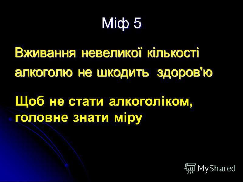 Міф 5 Вживання невеликої кількості алкоголю не шкодить здоров'ю Щоб не стати алкоголіком, головне знати міру