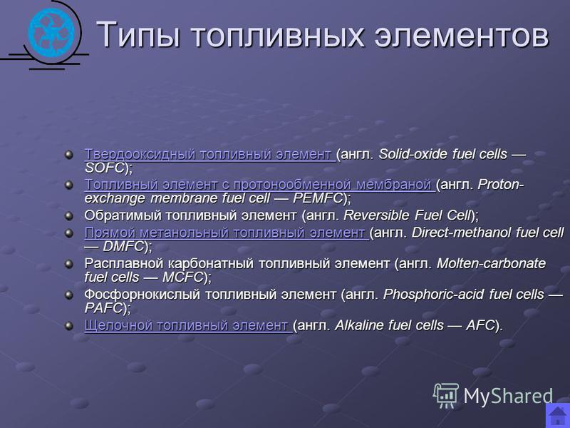 Типы топливных элементов Твердооксидный топливный элемент Твердооксидный топливный элемент (англ. Solid-oxide fuel cells SOFC); Твердооксидный топливный элемент Топливный элемент с протонообменной мембраной Топливный элемент с протонообменной мембран