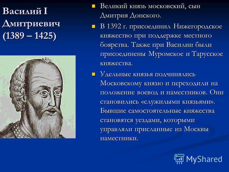 Василий I Дмитриевич (1389 – 1425) Великий князь московский, сын Дмитрия Донского. В 1392 г. присоединил Нижегородское княжество при поддержке местного боярства. Также при Василии были присоединены Муромское и Тарусское княжества. Удельные князья под