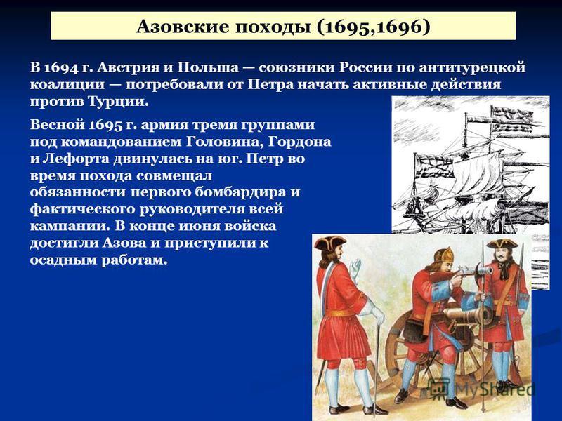 Азовские походы (1695,1696) В 1694 г. Австрия и Польша союзники России по анти турецкой коалиции потребовали от Петра начать активные действия против Турции. Весной 1695 г. армия тремя группами под командованием Головина, Гордона и Лефорта двинулась