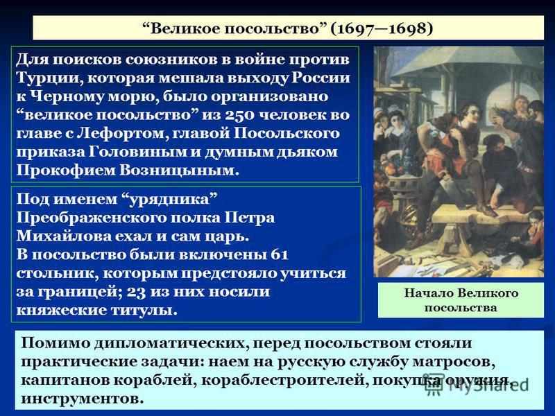 Великое посольство (16971698) Для поисков союзников в войне против Турции, которая мешала выходу России к Черному морю, было организовано великое посольство из 250 человек во главе с Лефортом, главой Посольского приказа Головиным и думным дьяком Прок