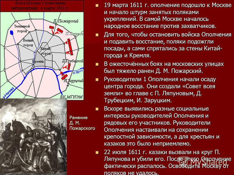 19 марта 1611 г. ополчение подошло к Москве и начало штурм занятых поляками укреплений. В самой Москве началось народное восстание против захватчиков. 19 марта 1611 г. ополчение подошло к Москве и начало штурм занятых поляками укреплений. В самой Мос