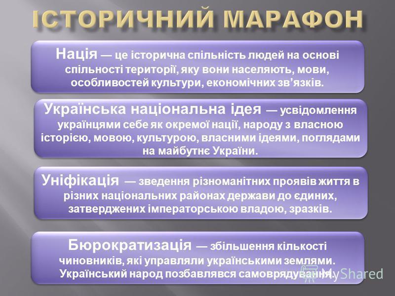 Нація це історична спільність людей на основі спільності території, яку вони населяють, мови, особливостей культури, економічних звязків. Українська національна ідея усвідомлення українцями себе як окремої нації, народу з власною історією, мовою, кул
